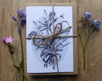 Spring Hedgerow Posy, greeting card pack, set of 6 nature cards, spring flowers, cards for nature lover