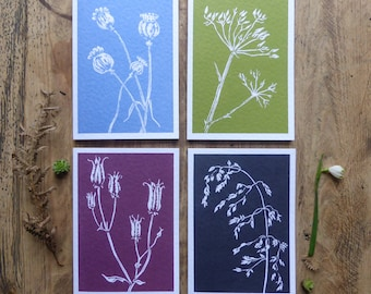 Pack of 4 linocut greeting cards. Gift for a gardener. FREE UK postage. Poppies, Aquilegia, Grasses, Cow Parsley. Mothers day gift.