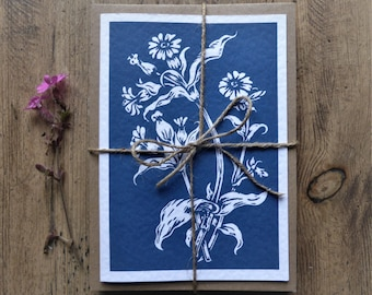 Campion, wildflowers. Linocut greeting cards - pack of 6, or single cards. FREE UK POSTAGE