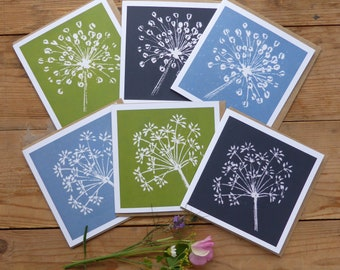 Pack of 6 linocut greeting cards. FREE UK postage. Gift for a gardener. Gift for nature lover. Note cards.