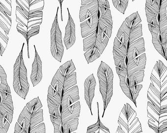 """""""Feathers"""" graphic black and white cotton fabric"""