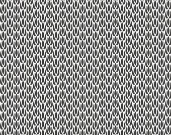 """""""Tulips"""" graphic black and white cotton fabric"""