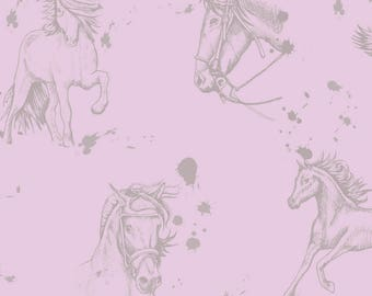"""""""Horse"""" horses cotton fabric pink and taupe"""