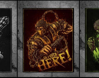 Mortal Kombat Scorpion Noob Saibot Reptile 3 Posters A2 in a Tube NEW!