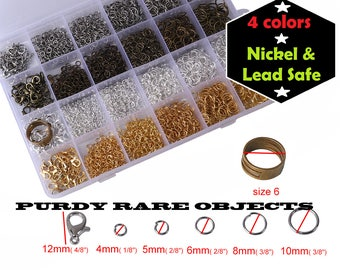 FREE S&H + BOX Assorted Colors Sizes 4 6 8 10 mm Kit Jump Rings, Lobster Clasps Jewelry Making Findings Antique Silver Bronze Gold Jumprings