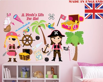 Pirates Girl Set1 Nursery Stickers,Repositionable Fabric Wall Decal,Removable  Vinyl Wall Sticker Kids