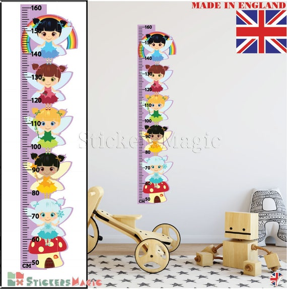 Kids Height Growth Chart Wall Stickers FAIRIES Children Bedroom Wall Art  Decals -REMOVABLE Vinyl with CM for Home Decor Height Ruler Uk