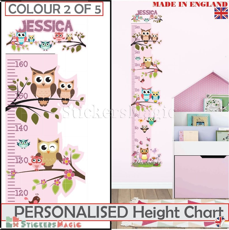Personalised Height Chart Owl Tree Growth Chart Girl Decal Etsy