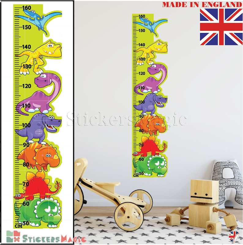 height chart dinosaur wall stickers boy wall decals growth   etsy