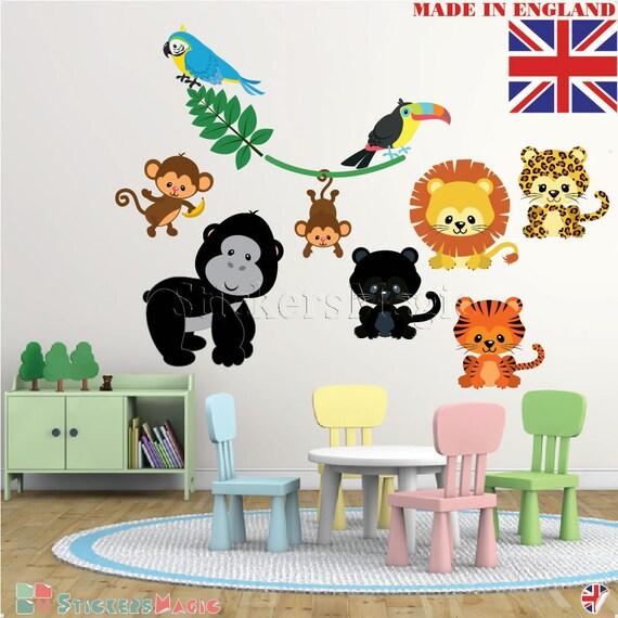 jungle animals nursery stickersrepositionable fabric wall | etsy