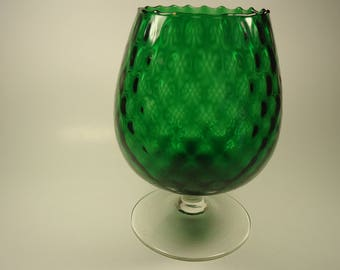 Emeral green pedestal ball shaped glass vase