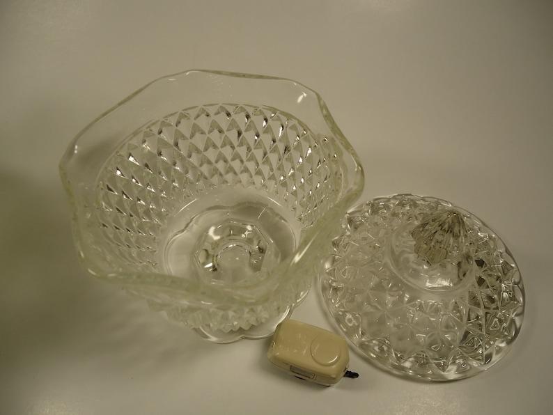 Small Hobnail pedestal diamond point design clear glass bowl,
