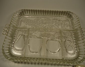 Clear glass divided veggie tray