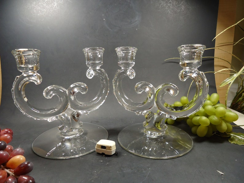 Set of 2 clear Glass pedestal candle stick holders