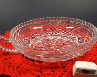 cut glass bowl with single handle
