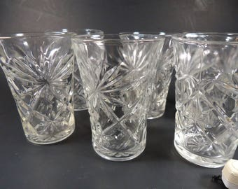 Star of David juice/ water  glasses,set of 6, 8 0z.