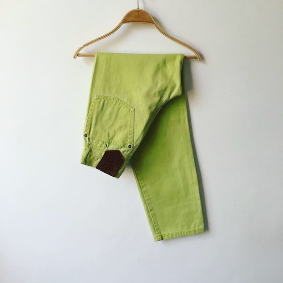 Vintage High Waist Jeans Pistachio Mint Green