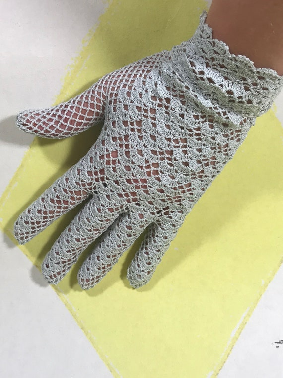 Crochet Lace Gloves | Pale Blue | Stretchy Fabric