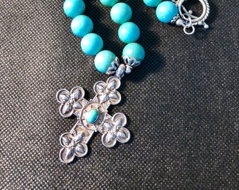 Navajo Turquoise Necklace and Cross Pendant