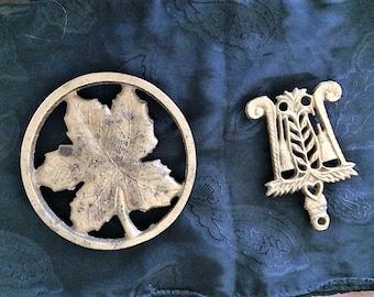 Leaf and Broom Vintage Brass Trivets set of 2
