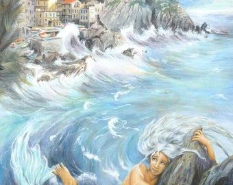 Original Mermaid painting, hand made Cinque Terre art, sea landscape, Gouache on canvas panel, 30 x 40 cm