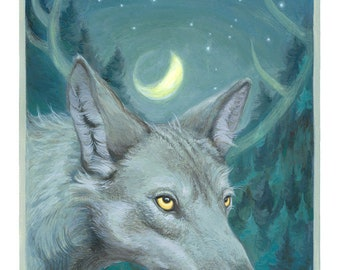 Wolf print, wildlife art, spiritual painting, fantasy print, signed archival print, glicée on cotton paper. 20 x 30 cm ( 7.8 x 11.8 in ).