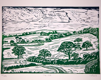 """Linocut print of Dorset countryside """"The Vale"""" by Nathalie Roberts"""