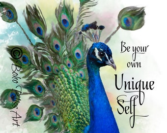 Be Your Own Unique Self Quote Wall Art | Peacock Art Print | Office Wall  Decor | Peacock Home Decor | Empowerment | Instant Download