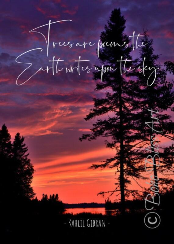 Bäume Sind Gedichte Die Die Erde Auf Den Himmel Schreibt Natur Zitat Wandkunst Baum Kunstdruck Haus Oder Büro Dekor Sofort Download