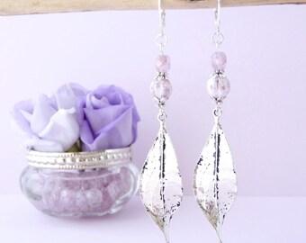 Leaf earrings, romantic earrings, stud earring, romantic jewelry, romantic style - silver.