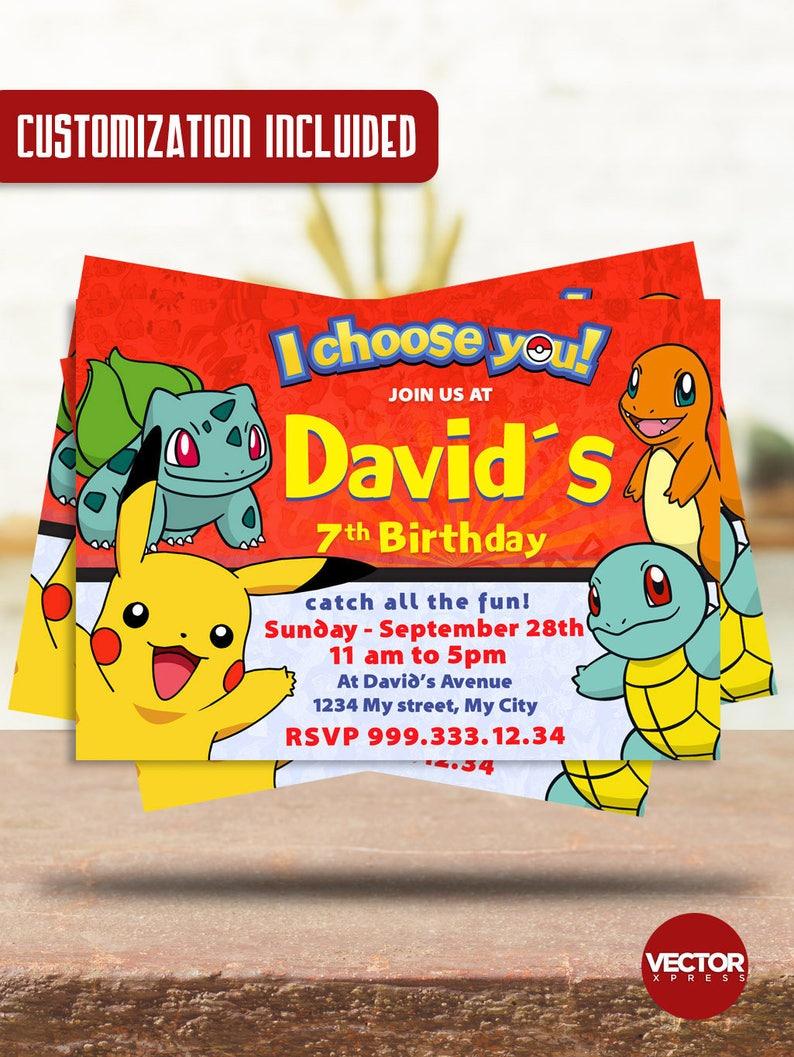 Pokemon Birthday Invitation Customized Printable Party Digital File Pdf Jpg