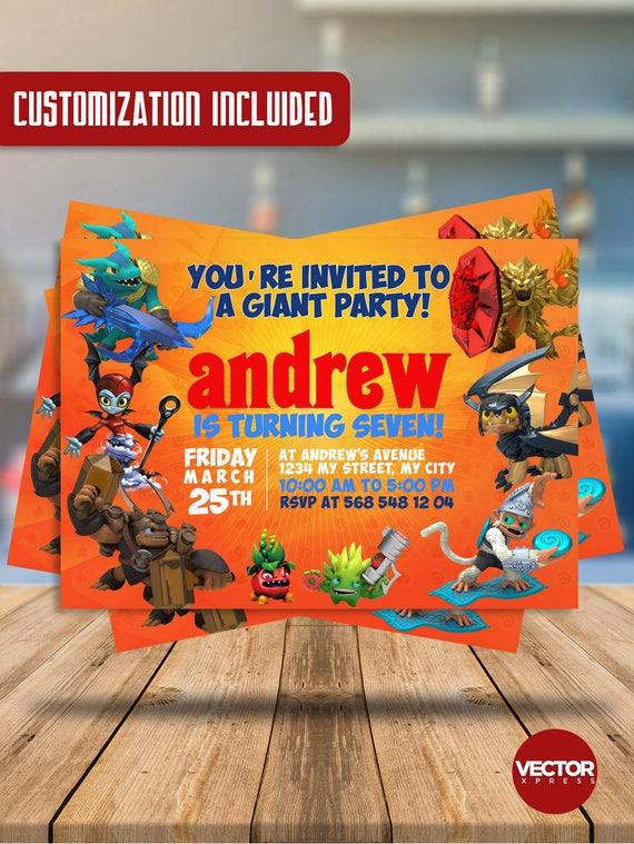 Skylanders Birthday Invitation Customized