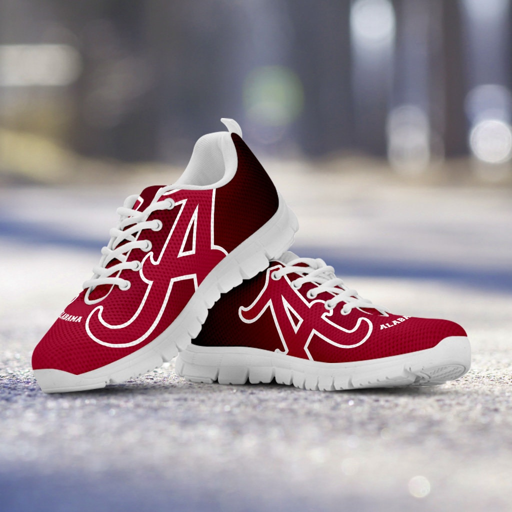 Alabama Crimson Tide Fan White Unofficial Custom Wine A White Fan Sole Running Shoes - Ladies, Men, Kids Sizes, gift, football, basketball 629407