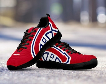 Montreal Canadiens Fan Custom Unofficial Black Shoes/Sneakers/Trainers - Ladies + Mens Sizes