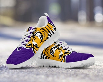 LSU Tigers Fan Unofficial Custom Running White Shoes/Sneakers/Trainers - Ladies, Mens, Kids Sizes, gift, football, basketball, baseball