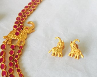Antique dull finish Indian traditional Ruby,gemstone jewellery with elephant motif- antique Indian jewellery