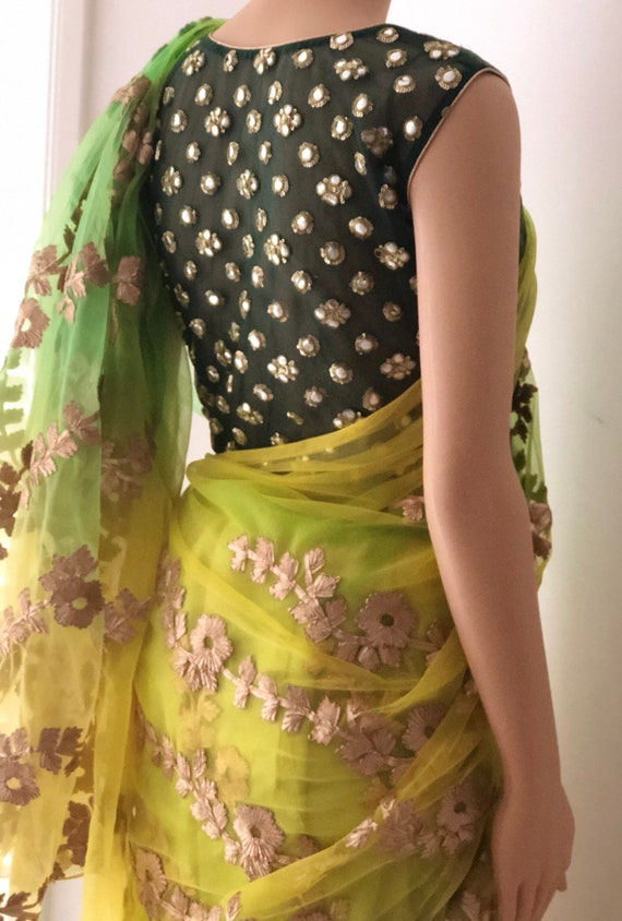 and Vibrant with blouse stitched saree net green shaded yellow B1fq5