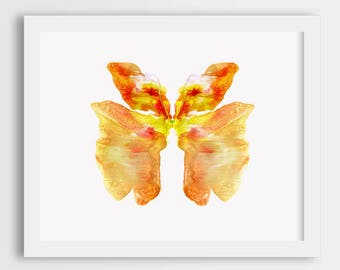 Orange butterfly print, watercolor butterfly art, colorful butterfly wall art, butterfly painting, orange butterfly illustration