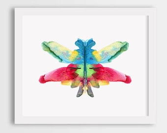 Rainbow butterfly art, colorful butterfly print, watercolor butterfly wall art, butterfly painting, girl room wall art