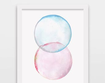 Abstract bubble art, wall art print, watercolor painting, minimalist painting, modern art, watercolor bubbles