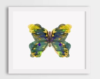 Butterfly wall art print, girl room decor, butterfly painting, watercolor illustration, gift for her