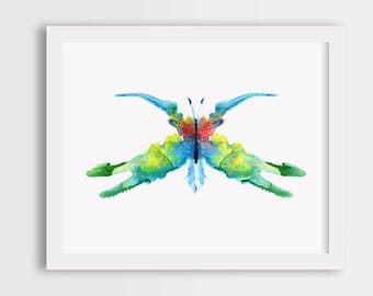 Colorful butterfly print, watercolor butterfly painting, butterfly painting, colorful butterfly wall art, butterfly illustration