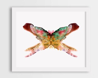 Brown butterfly wall art, watercolor butterfly print, room decor, butterfly illustration