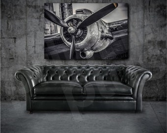 Lancaster Bomber Propeller Black and White Canvas Art Poster Print Wall Decor