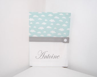 CUSTOMIZABLE health book protector in white and green fabric ideal cloud pattern gift baby birth