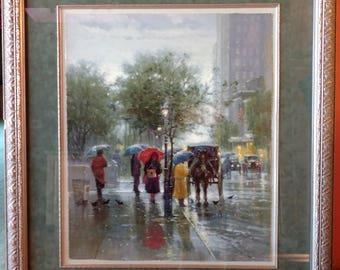 "Americana Nostalgia Street Art G. Harvey ""October Showers"" Limited Edition Signed & Numbered Matted Framed"