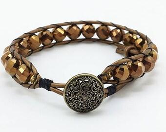 Gift for Her Beaded Wrap Bracelet Wrap Bracelet Boho Wrap Bracelet Leather Wrap Bracelet Handmade Bracelet Bead and Leather Wrap Bracelet