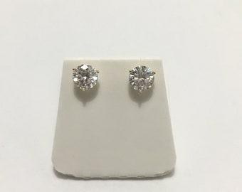 3730b3706 Moissanite Earrings Martini 2 Carat twt Round 3 Prong Martini Screwbacks 14K  Gold Charles & Colvard Forever One Jewels