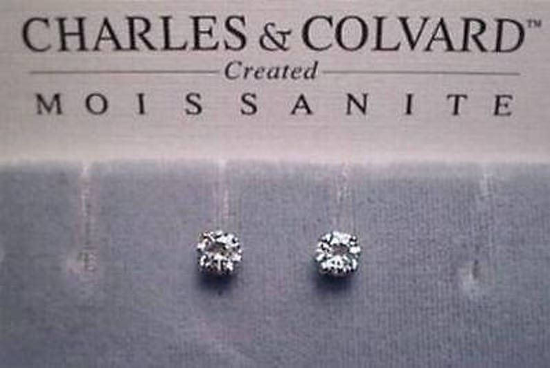 10c4509c9 Moissanite Earrings 1 carat twt. 14k White Gold 5mm Rnd 4 | Etsy