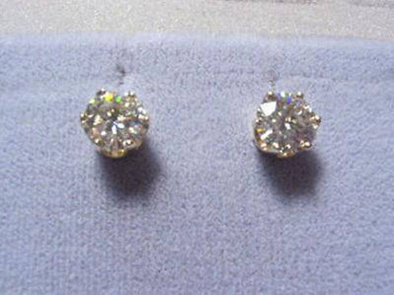 33b182f11 Moissanite Earrings 2 ct twt Rnd 6 Prong Screwbacks 14k Yellow | Etsy